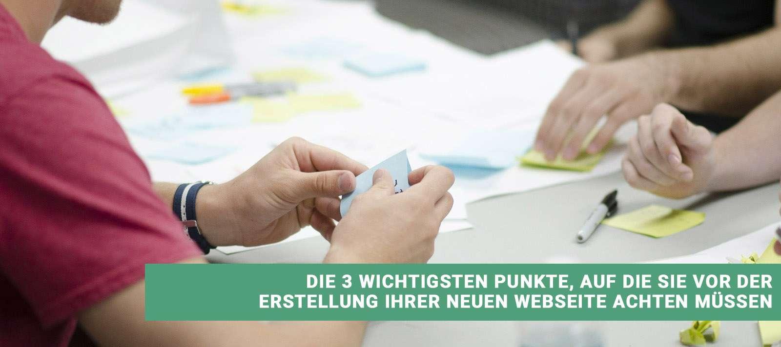 Webseite erstellen drei wichtige Punkte